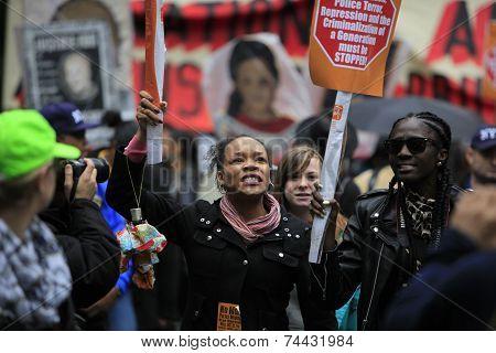 Marchers along Sixth Avenue