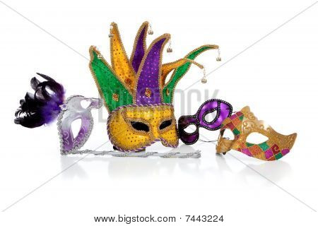 Assorted Mardi Gra Masks On White