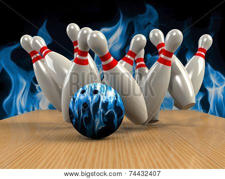 poster of Bowling Game Strike rot 3d abstract image