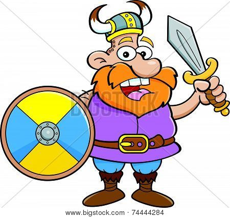 Cartoon Viking Holding a Shield and a Sword