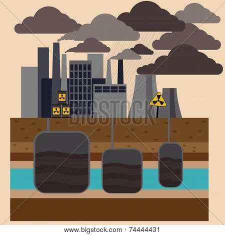 Power plant smokestacks emitting smoke over urban cityscape in cartoon style. Smokestack in factory with black yellow sky and clouds poster