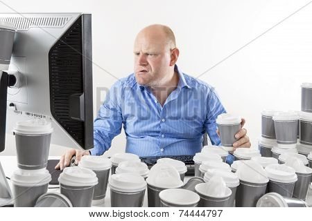 Hardworking and focused businessman at office