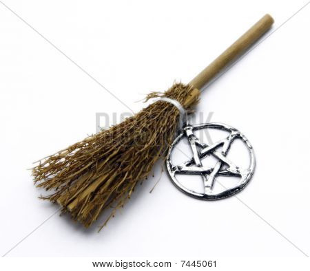 Witchcraft Broom And Pentacle