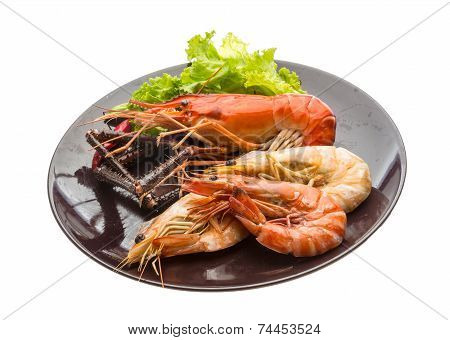 poster of Giant Freshwater Prawn and king prawns isolated
