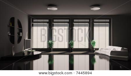 Black Living Room Interior 3D