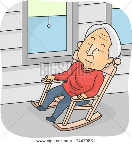 Illustration Featuring an Elderly Man Taking a Nap in a Rocking Chair