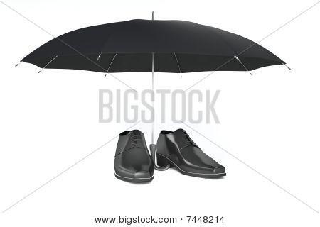 Men's Shoes And Umbrella