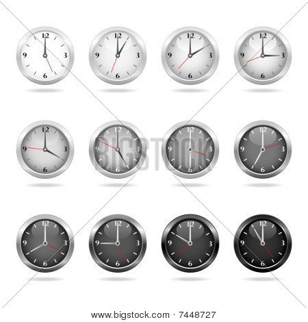 Clocks and watches - Set 2 - white and black