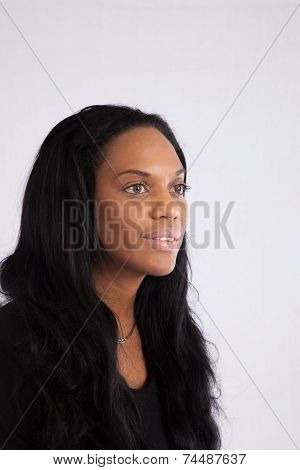 Black woman looking right