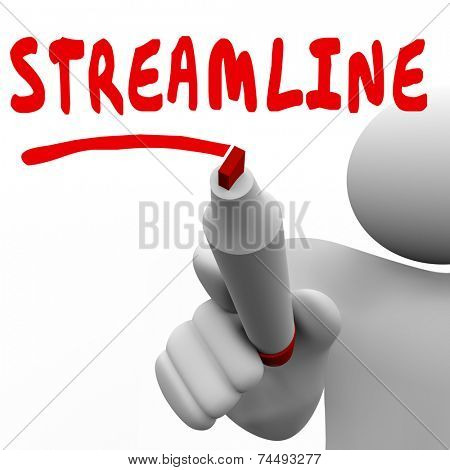 Streamline word written by man with red marker to highlight productivity improvement and efficiency gains from consolidating, cutting or reducing waste