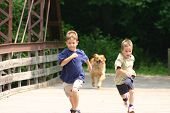 two boys running across bridge with dog following poster