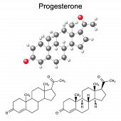 Structural chemical formulas and model of progesterone molecule 2D & 3D Illustration isolated on white background vector eps8 poster