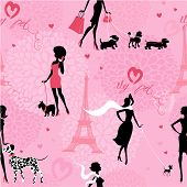 Seamless pattern with black silhouettes of fashionable girls with their pets - dogs (Dalmatian dachshund terrier poodle chihuahua) on a pink floral background. Ready to use as swatch poster