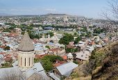 Old Tbilisi panorama with top of Saint Bethlehem Church on foreground view from Narikala fortress GeorgiaCaucasusCentral Asia poster