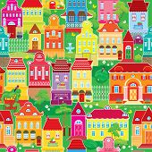 Seamless pattern with decorative colorful houses spring or summer season. City endless background. Ready to use as swatch poster