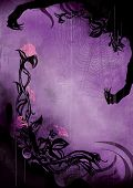 Horror violet background with grunge flowers splashes scratches spots sinister silhouettes of hands and a spider web. poster