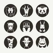 Stylized animal avatar set in flat style for social network. Black emblem on a white background poster