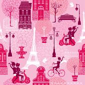 Seamless pattern with girls riding on scooter and bicycle houses silhouettes and town landscape with Effel Tower on a pink floral background. Ready to use as swatch poster