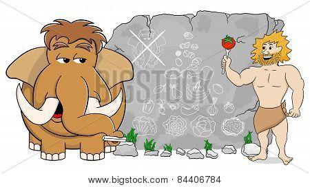 Mammoth Explains Paleo Diet Using A Food Pyramid Drawn On Stone