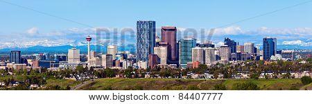Panorama Of Calgary And Rocky Mountains