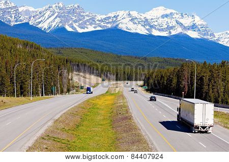 Semi Truck On The Road In Banff National Park