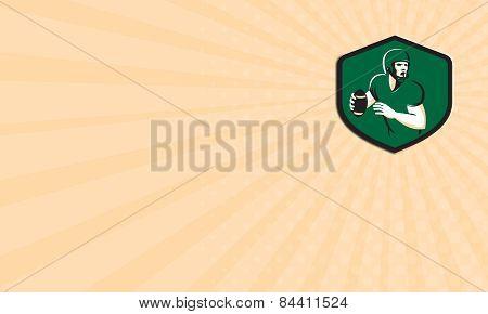 Business Card American Football Quarterback Qb Shield Retro