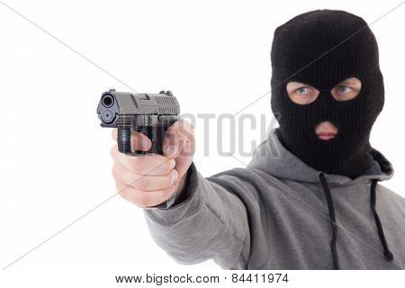 Man In Mask Aiming With Gun Isolated On White