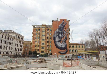 Graffiti Wolf In Rome