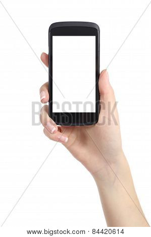 Woman Hand Presenting A Smart Phone Screen Application