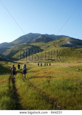 Team climbing on highest croatian mountain
