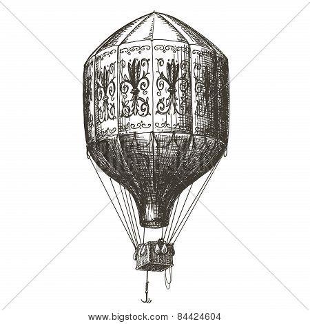 hot air balloon vector logo design template. retro aerostat or transport icon.