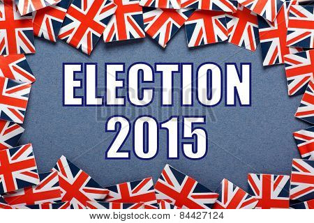 The title Election 2015 on a blue background with a border of Union Jacks, the flag of the United Kingdom poster