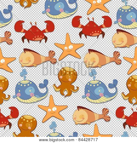 seamless background of sea creatures