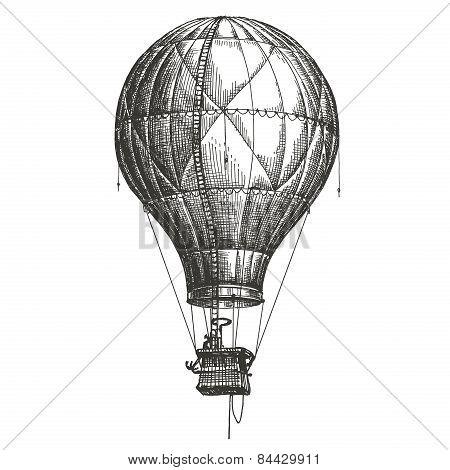 Hot Air Balloon vector logo design template. retro airship or transport icon.