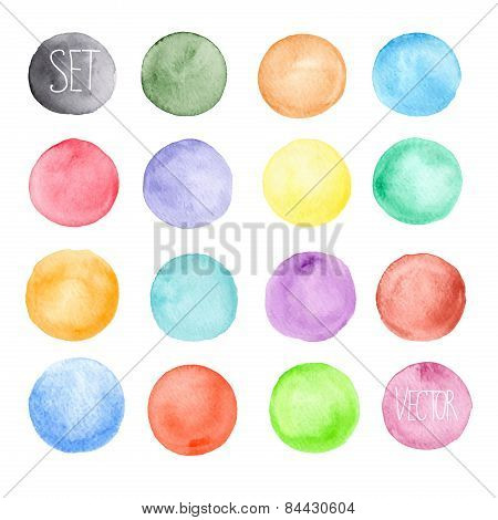 Vector watercolors pattern. Round shapes pattern