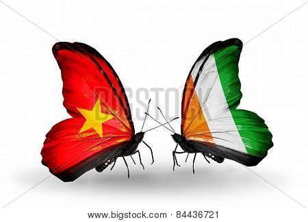 Two Butterflies With Flags On Wings As Symbol Of Relations Vietnam And Cote Divoire
