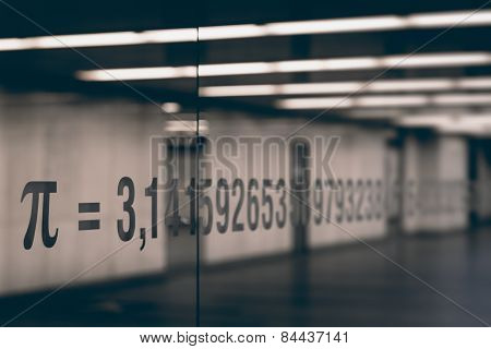 the pi symbol and numbers of mathematical constant on glass