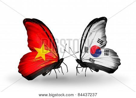 Two Butterflies With Flags On Wings As Symbol Of Relations Vietnam And South Korea
