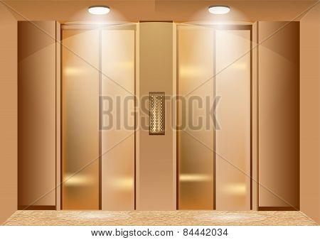 elevator doors. two metallic closed lift doors poster