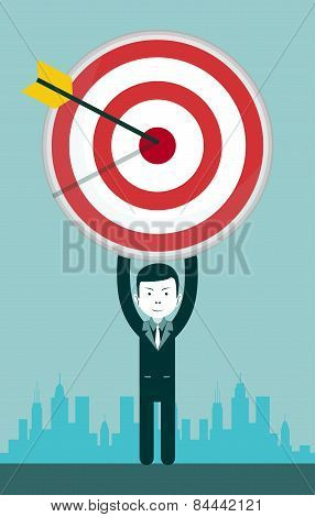 Young businessman with iaim. Vector