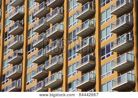 Reno, Usa - August 12: Closeup Of Apartment Building On August 12, 2014 In Reno, Usa.  Reno Is The M