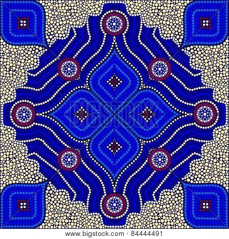 An Illustration Based On Aboriginal Style Of Dot Painting Depicting Strangers - Yello