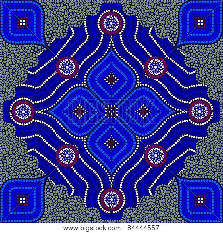 An Illustration Based On Aboriginal Style Of Dot Painting Depicting Strangers (green)