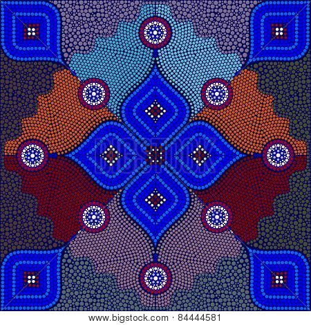 An illustration based on aboriginal style of dot painting depicting strangers - 4/2