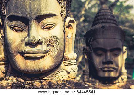 Face. Angkor Wat Angkor Thom. Cambodia