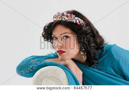 Adult arabian woman in blue abaya