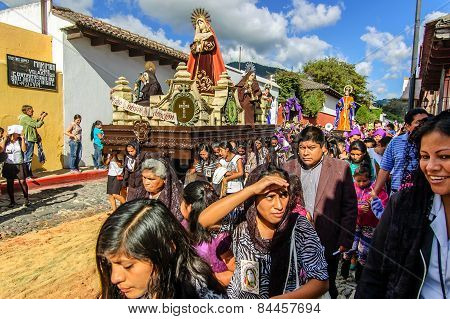 Lent Procession With Virgin Mary, Antigua, Guatemala