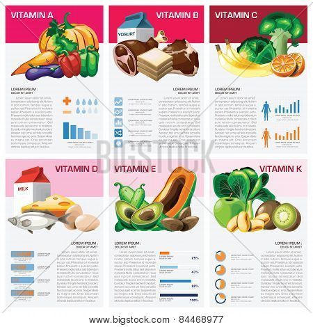 Health And Medical Vitamin Chart Diagram Infographic Design Template poster