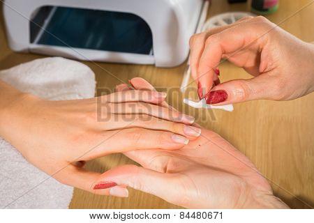 Manicure in the spa salon