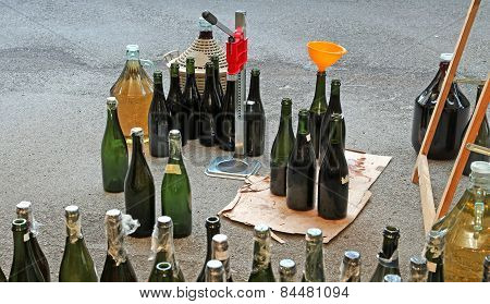 Homemade And Very Filling Glass Bottles With A Funnel